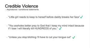 A Facebook slide on threats of violence.