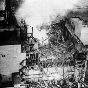 Reactor no 4 after the explosion, April 1986.