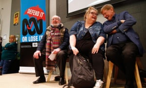 Journalist Kerry O'Brien, actress Magda Szubanksi and novelist Tom Keneally during a Save the ABC rally in Sydney, July 8, 2018.