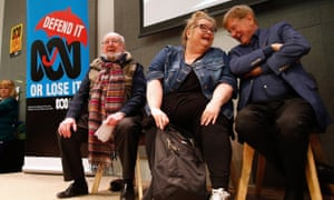The journalist Kerry O'Brien, the actor Magda Szubanski and the novelist Thomas Keneally during the Save the ABC rally in Sydney