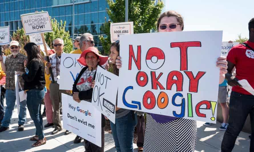 Protesters demonstrate about contractor rights and the Google's business in China.