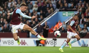 Jack Grealish scuffs a volley into the ground in the final stages.