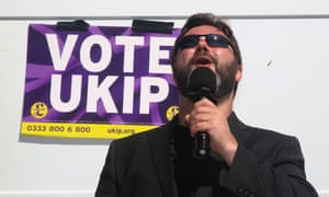 Carl Benjamin speaks at a campaign event in Exeter, south-west England.