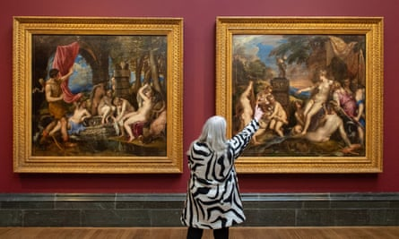 Historian Mary Beard at the Titian: Love Desire Death exhibition at the National Gallery before it was closed by Covid-19.