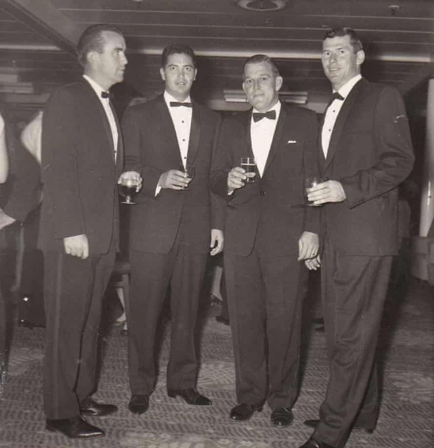 """Rex Sellers and team-mates Bob Simpson, Wally Grout and Neil Hawke aboard the tour ship """"Orcades"""" on 9 April, 1964."""