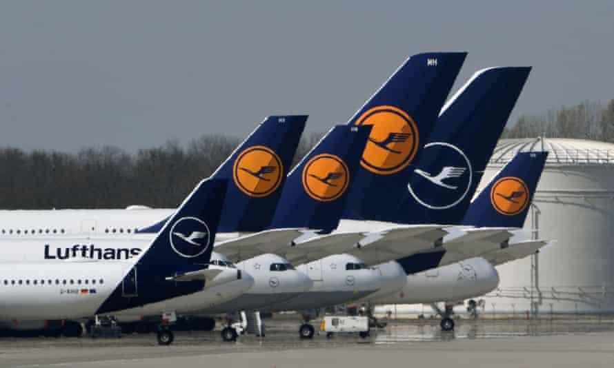 Lufthansa planes parked at the Franz-Josef-Strauss airport in Munich, Germany.