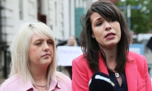 Sarah Ewart (left), who had to travel to England for an abortion due to fatal foetal abnormality, and Grainne Teggart of Amnesty International.
