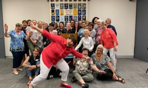 Madison Bronte, 23 (right hand side in blue overalls) joins women for the first meeting of the Mascot evening branch of Australia's Country Women's Association.
