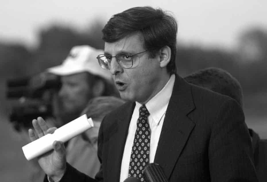 In this April 27, 1995, file photo, Merrick Garland, associate deputy attorney general, speaks to the media following the hearing of Oklahoma bombing suspect Timothy McVeigh, before federal magistrate Ronald Howland, in El Reno, Okla.