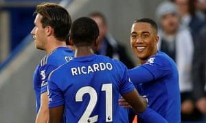 Youri Tielemans celebrates scoring Leicester's second goal against Burnley with Ricardo Pereira.