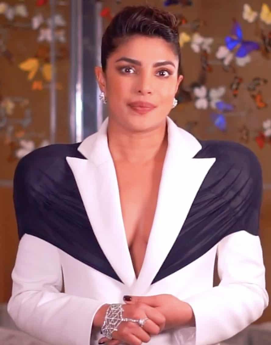 Priyanka Chopra wears huge-shouldered white jacket with black overlay