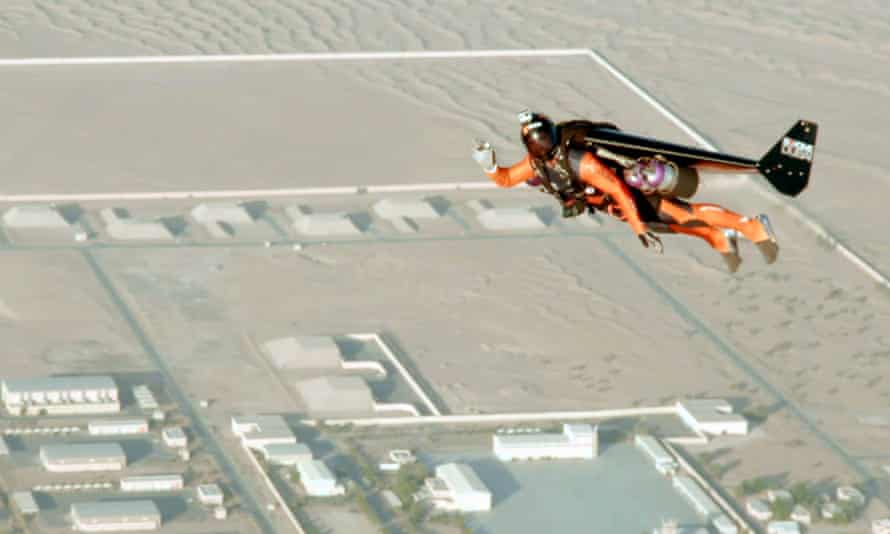 As close as you can get to being Peter Pan ... a jetman over the desert in Dubai