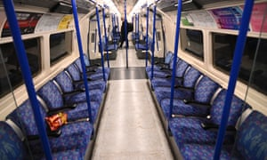 Interior of a London Underground train carriage.