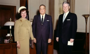 Mark Felt accompanied by the FBI director, J Edgar Hoover, and his wife Audrey in 1967. Audrey Felt killed herself in 1984 using her husband's service revolver.