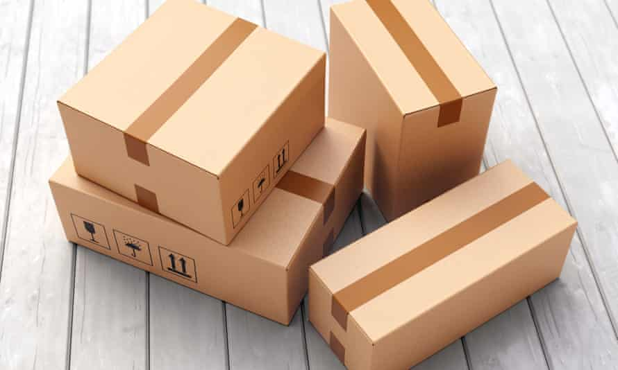 a group of cardboard boxes and parcels