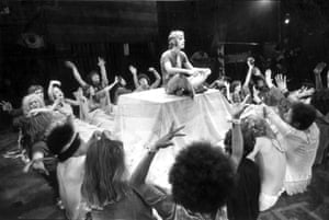 Paul Nicholas in the West End production of Hair in London on 25 September 1968.