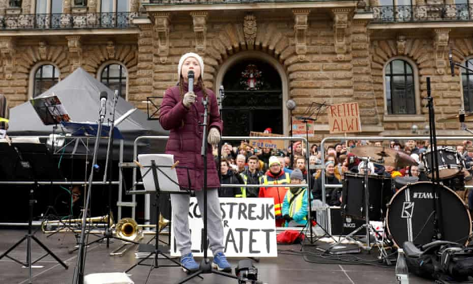 Swedish climate activist Greta Thunberg joins students for a school strike in Hamburg on 1 March.