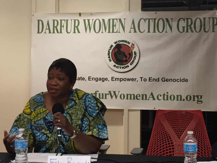 Fatou Bensouda, the ICC's chief prosecutor, speaks to the Darfur Women Action Group in 2014
