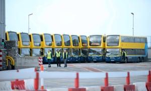 Dublin Bus vehicles in a depot