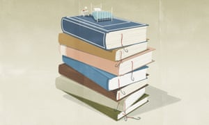 Illustration of a stack of books with a bed on top