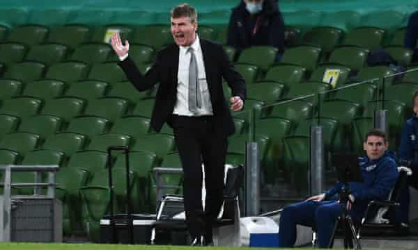 Stephen Kenny tries to rally his players during Ireland's home loss to Luxembourg at the Aviva Stadium.