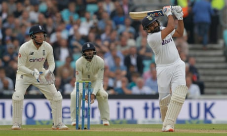 Rohit Sharma brings up his century with a six off Moeen Ali.