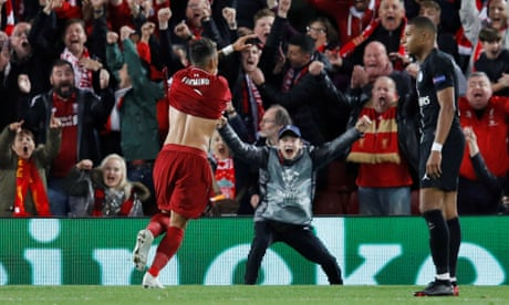Liverpool's Roberto Firmino leaves it late to sink PSG in five-goal thriller