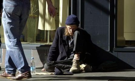 A homeless man in Sydney's CBD.