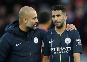 Guardiola consoles Mahrez after the final whistle as the game finishes 0-0.
