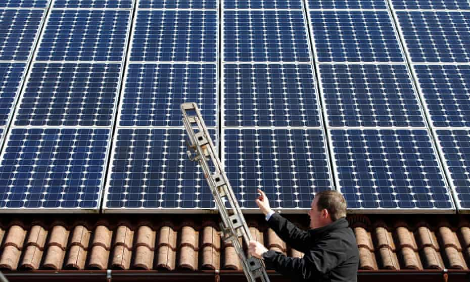 photovoltaic (solar) panels on the roof of a house