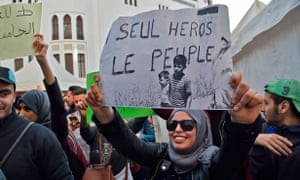 Algerian students demonstrate in the capital Algiers against ailing President Abdelaziz Bouteflika's bid for a fifth term