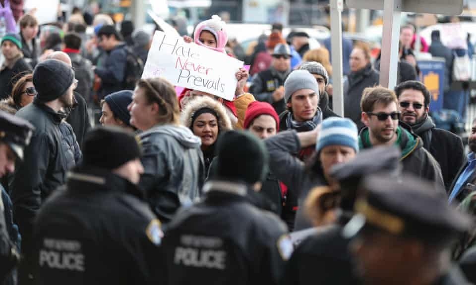 Protests against Trump's travel ban at JFK airport in January.