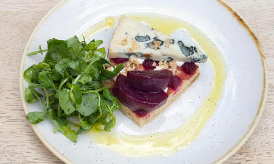 Plate of blue cheese, walnuts and beetroot