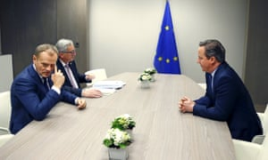 No deal yet: David Cameron in late-night talks with European Council president Donald Tusk and European Commission president Jean-Claude Juncker.