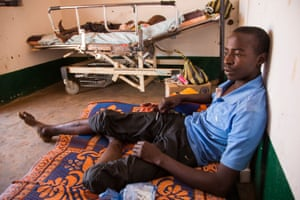 Oumar Abdouly, 24, recuperates in Chinko's clinic after falling ill with parasites.