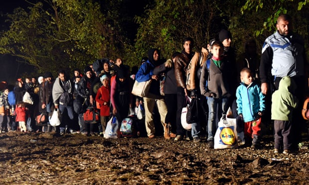 Refugees in Croatia queueing to cross the border into Hungary before it was closed