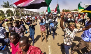 Demonstrators at a a rally demanding a civilian body to lead the transition to democracy, outside the army headquarters in Khartoum on Saturday.