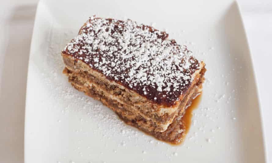'A multilayered affair of dense, espresso-soaked sponge and cream': tiramisu.
