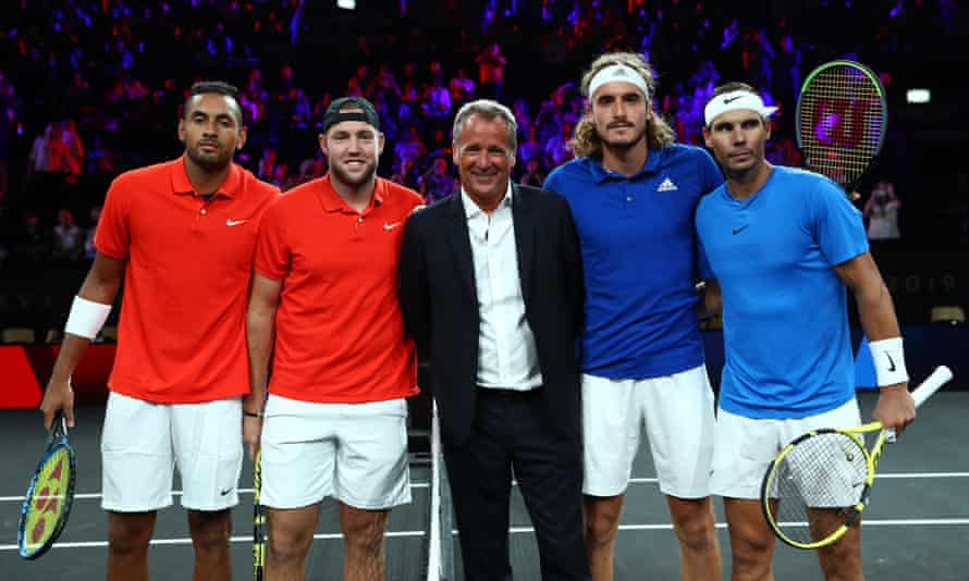Chris Kermode (centre) at the Laver Cup in September 2019.