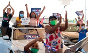Biden supporters at a drive in rally in Miramar, Florida on Tuesday.