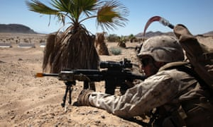 A soldier in training at the Marine Corps Air Ground Combat Center in Twentynine Palms, California.