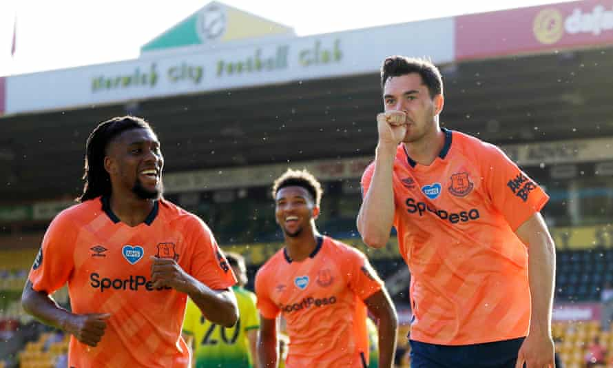 Michael Keane celebrates after scoring the only goal of the game.
