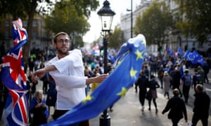 EU supporters march as parliament sits.