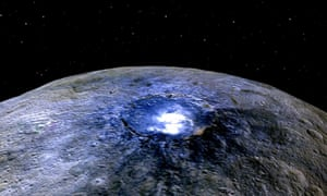 A representation of Ceres's Occator crater shows bright spots pocking the surface of the dwarf planet.