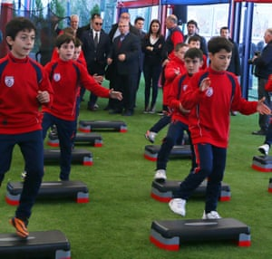Fatih Terim – the then manager of the Turkey national team – visits the youth training facility of Altinordu in January 2014