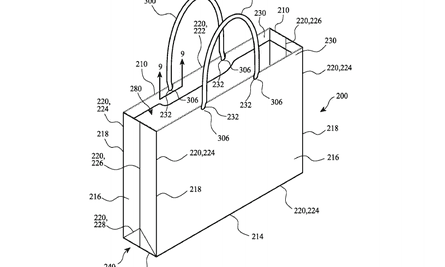Apple's newest invention – the reinforced 60% recycled white paper bag.