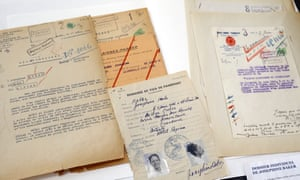 The files of Josephine Baker is displayed as part of documents, stored for years in the archive rooms of the medieval castle of Vincennes , east of Paris, Wednesday, March 16, 2016. A team of French historians unveiled Wednesday some secret services' archives from WWII, letters, reports, cables and photos from the rival intelligence agencies of the French Resistance, the collaborationist Vichy regime and the Nazi German authorities. (AP Photo/Francois Mori)
