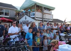 A crowd at the Block Island Giant Shark Tournament, Rhode Island, US.