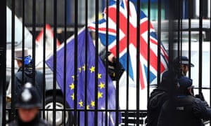 EU and UK flags behind bars in London
