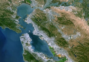 A satellite image of the San Francisco bay. Large areas of land beside the bay have been discovered to be sinking.